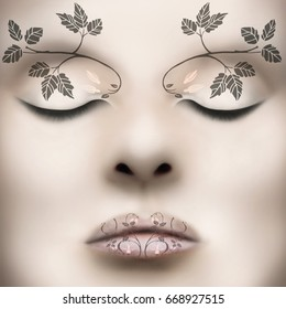 Beautiful classy female face with liberty leaves as make up on her lips and on eyebrow arch