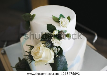 Beautiful Classy White Wedding Cake Decorated Stock Photo Edit Now