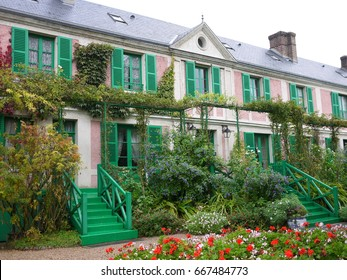 Beautiful Claude Monet's Garden of Giverny, Normandy, France in auturmn with the main house