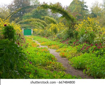 Beautiful Claude Monet's Garden of Giverny, Normandy, France in auturmn at the gate