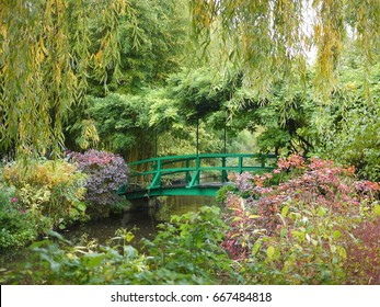 Beautiful Claude Monet's Garden of Giverny, Normandy, France in auturmn with the iconic green Japanese bridge