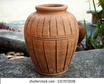 Beautiful Clay Pot Decorated in the Garden