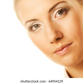 beautiful clean face. young woman.