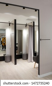 Beautiful and clean interior of dressing room at the store.