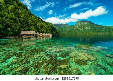 Beautiful clean ocean water in Ora Beach Resort, Maluku Islands