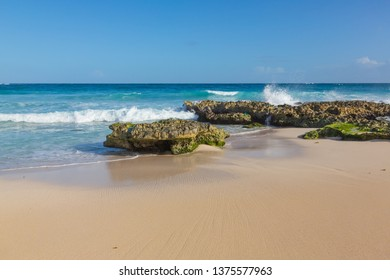 Beautiful clean sand and blue sky at a tropical beach