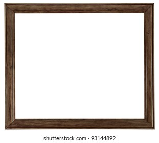 Beautiful, clean, simple and elegant wooden picture frame isolated on a pure white background.