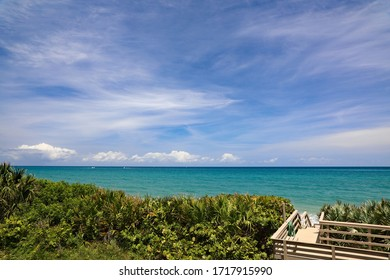 Beautiful clear air and cloud formations over the Atlantic Ocean off Singer Island, Florida, with some of the world's best shoreline for nesting sea turtles.