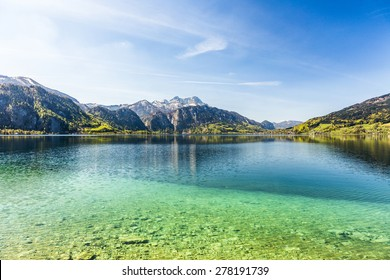 beautiful clear alpine lake Attersee with crystal water