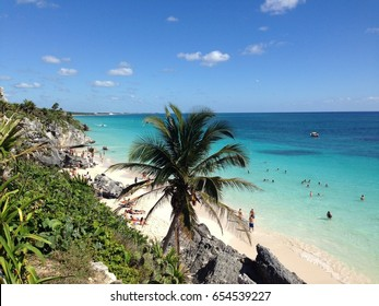 Beautiful clear  beach with reefs, white sand, stones, green grass and coconut tree under blue sky. Tulum, Mexico. January, 2016.