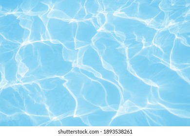 Beautiful clear blue water in the sea. Summer vacation and a sunny day by the pool. Texture with waves