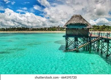 Beautiful clear green blue ocean at the tropical island of Zanzibar