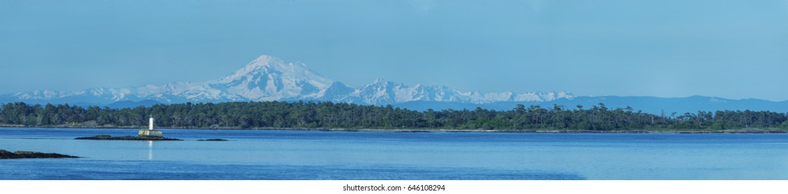 Beautiful and clear panorama view of Mt Baker from Oak bay in Victoria,BC, Canada.