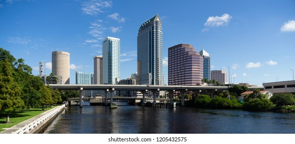 Beautiful clear sunny day on the waterways in and around the Tampa Florida metropolitan area