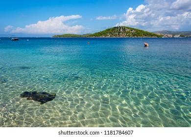 Beautiful clear turquoise water of the Adriatic Sea in Croatia, Razanj, Rogoznica