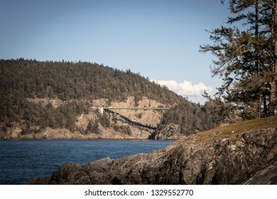A beautiful, clear view of Deception Pass bridge at Deception Pass State Park in Washington.