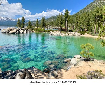 Beautiful clear water with blue sky in Lake Tahoe