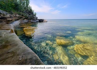 Beautiful clear water in Lake Superior near Munising, Michigan