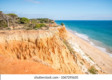 Beautiful cliffs along Falesia Beach and The Atlantic Ocean in Albufeira, Algarve, Portugal