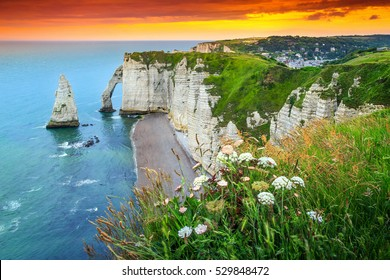 Beautiful cliffs Aval of Etretat with beautiful famous coastline and wonderful sunset,Normandy,France,Europe