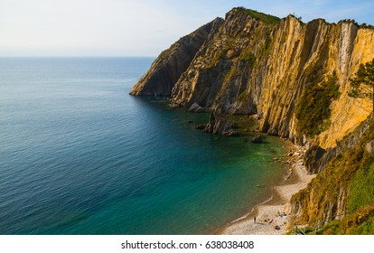 Beautiful cliffs and blue Cantabric sea from La Playa del Silencio - Cudillero - Asturias - Spain