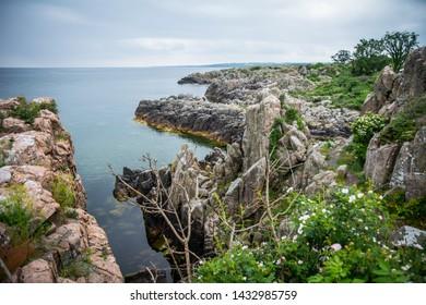 Beautiful cliffs on the danish island Bornholm. Around the city Gudhjem.
