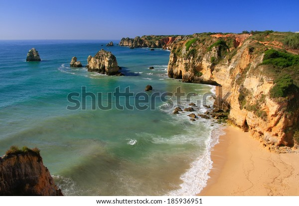 Beautiful cliffs of Ponta de Piedade, Lagos, Algarve region, Portugal