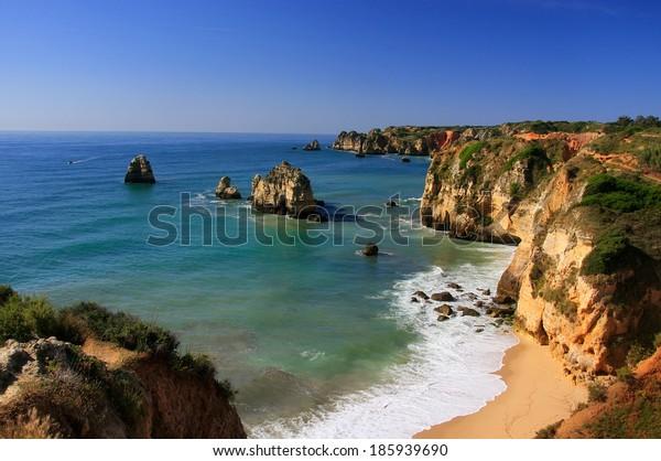 Beautiful cliffs of Ponta de Piedade, Lagos, Algarve region, Portugal
