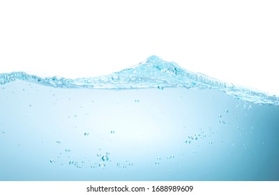 Beautiful of close up blue water surface with wave and Bubbles on white background. Copy space for text. Art abstract background concept