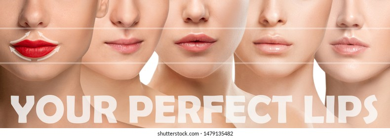 Beautiful close up faces on white background. Concept of filler injection, cosmetics, skincare and lifting, correction surgery, beauty and perfect skin. Colorful flyer for your ad. Lip augmentation.