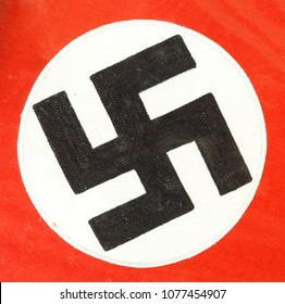 Beautiful close up of a German WWII swastika on a piece of fabric from the war