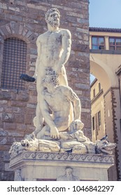 beautiful close up view of Hercules and Cacus renaissance sculpture in front of Florence town hall by Bartolommeo Bandinelli.