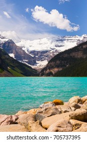 Beautiful close up view of Lake Louise in Banff National Park in the Rocky Mountains, Alberta, Canada