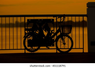 Beautiful closed up scene of bicycle at sunset.