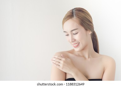 Beautiful close-up of Asian Woman portrait with healthy skin