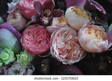 Beautiful close-up bouquet of flowers (lily, peony roses)