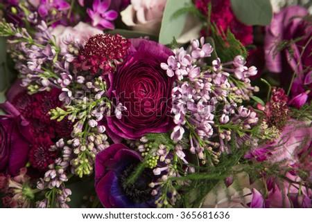 Beautiful Closeup Flower Arrangement Purple Pink Stock Photo Edit