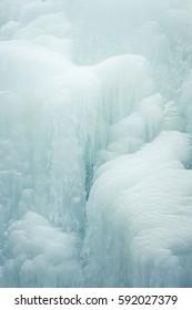 A beautiful close-up of a frozen waterfall in the Norwegian winter