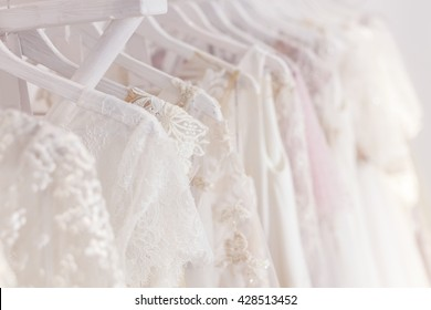 Beautiful clothing for bride in salon
