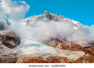 Beautiful cloud surrounded Langtang Lirung glacier at Langtang Valley, Nepal