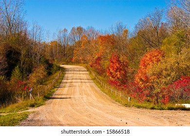 Beautiful cloudless fall day with vibrant colors