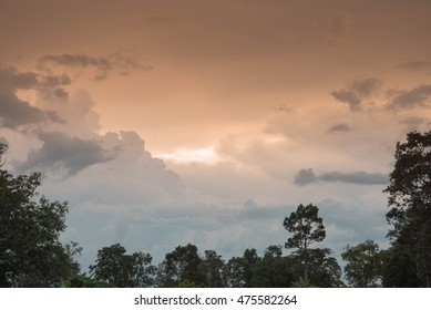 Beautiful clouds in the evening sky illuminated.