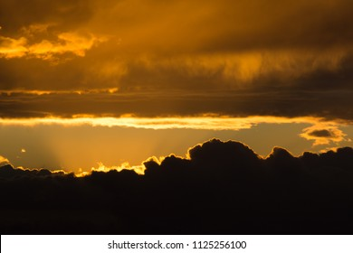 beautiful clouds of golden color before sunrise
