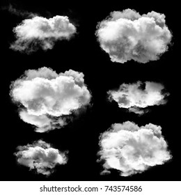 Beautiful clouds isolated over black background set, natural 3D rendering, smoke or fog 3D illustration collection