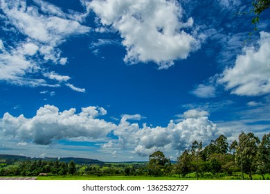 Beautiful clouds on green landscape