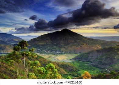 beautiful clouds on mount pusuk buhit,,locations island Samosir North Sumatra