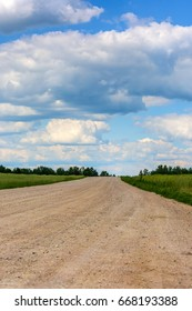 Beautiful clouds over a country road