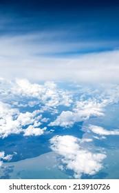 Beautiful clouds view from airplane flight Bangkok to Jakarta.