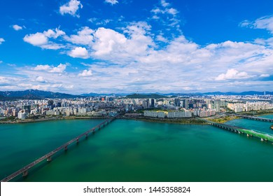 Beautiful clouds and viewpoint of Seoul downtown , Traffic , Hangang river,Seoul tower , Lotte tower Viewpoint from 63Building best landmark in Seoul,South Korea.