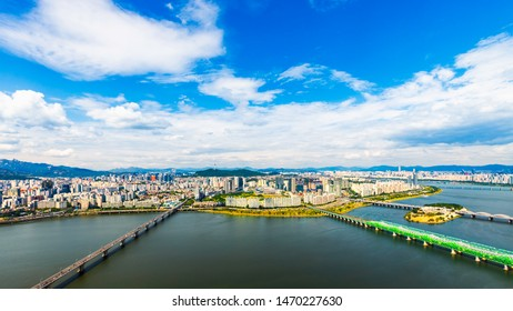 Beautiful clouds and viewpoint of Seoul downtown , Traffic , Hamgang river,Seoul tower , Lotte tower Viewpoint from 63Building best landmark in Seoul,South Korea.
